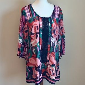 Anthro Odille Floral Print Silk & Lace Blouse 14
